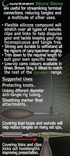 Gardner Tackle Covert Range Silicone Sleeves Inhalt 24stück versch. Farben