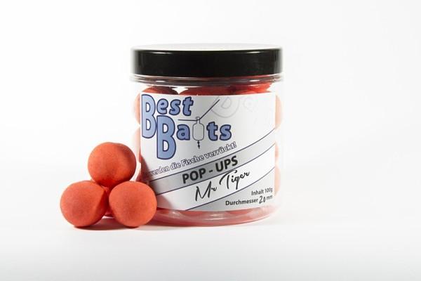 Best Baits Fluo Pop Ups - orange Mr. Tiger 100g versch. Größen