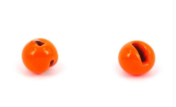 Tungsten Kopfperlen geschlitzt - fluo orange Inh.10st 4,0mm