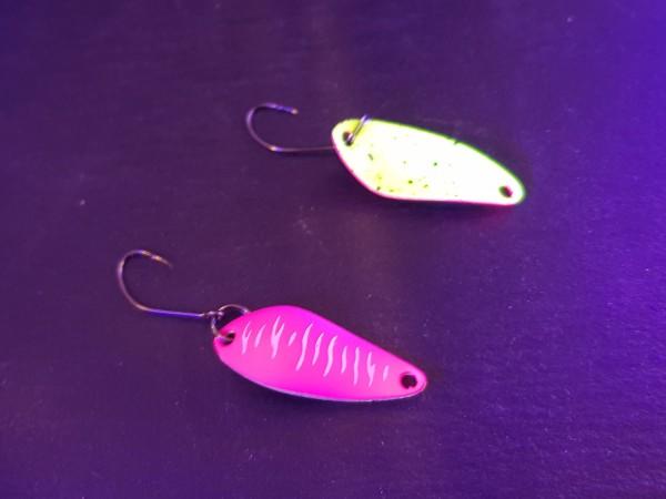 Zielfisch - Trout Bait Spoon Mocro Atom col.191 - 2,3g VS pink weiß / neon gelb