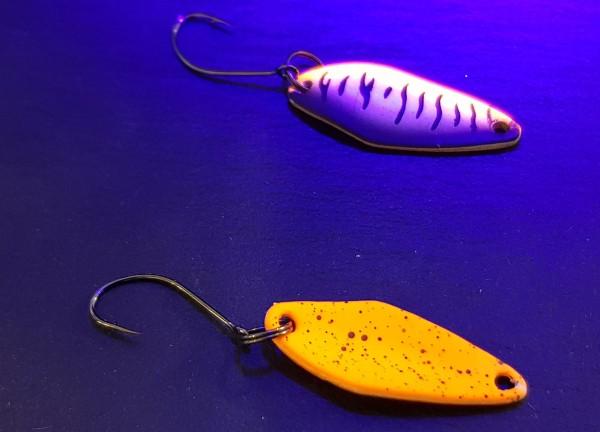 Zielfisch - Trout Bain Spoon WASP col.93 - 1,6g VS weiß orange schwarz / neon orange