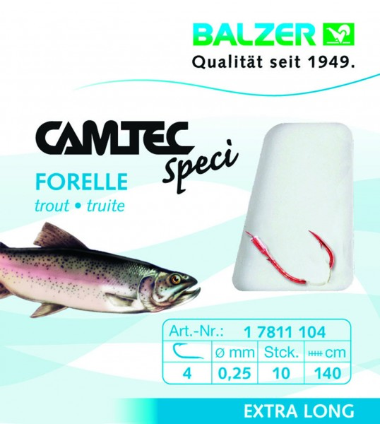 Balzer Camtec Spezi Forelle - rot - 140cm versch. Gr.- Inhalt 10st