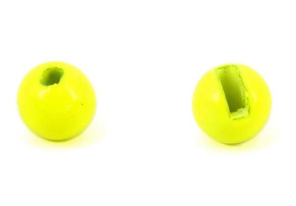 Tungsten Kopfperlen geschlitzt - fluo gelb Inh.10st 3,0mm
