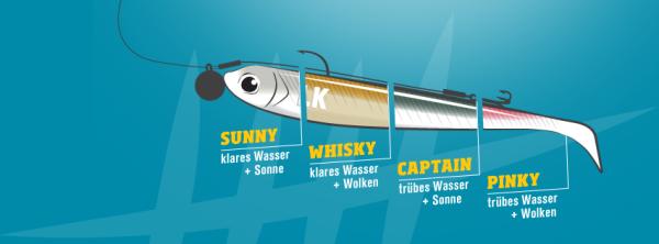 Lieblingsköder Captain, 10cm trübes Wasser + Sonne, Inhalt 4 St.