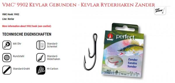 VMC 9902 Zander Ryder Haken Kevlar 50cm Vernickelt Inh. 2Stck. versch. Gr.