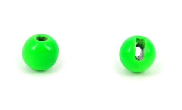 Tungsten Kopfperlen geschlitzt - fluo green Inh.10st 4,6mm